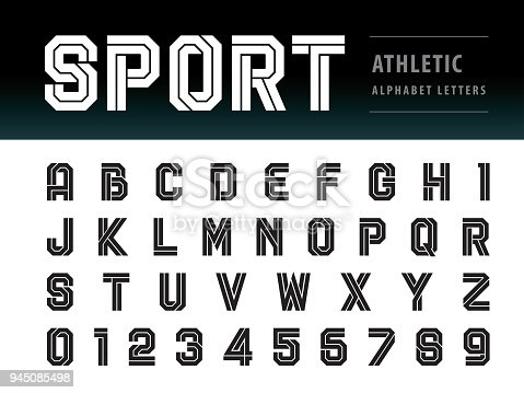 Vector of Athletic Alphabet Letters and numbers, Geometric Font Technology, Sport, Futuristic Future, Bold Letters set for Force, school, army, power, academy, College, University, fitness, sportswear, gym, Varsity