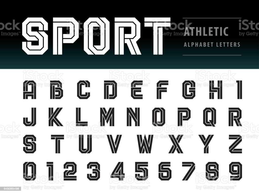 Vector of Athletic Alphabet Letters and numbers, Geometric Font Technology, Sport, Futuristic Future vector art illustration