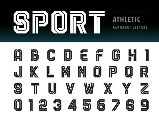 ilustraciones, imágenes clip art, dibujos animados e iconos de stock de vector de atlético letras del alfabeto y números, tecnología de fuente geométrica, deporte, futuro futurista - boxeo deporte