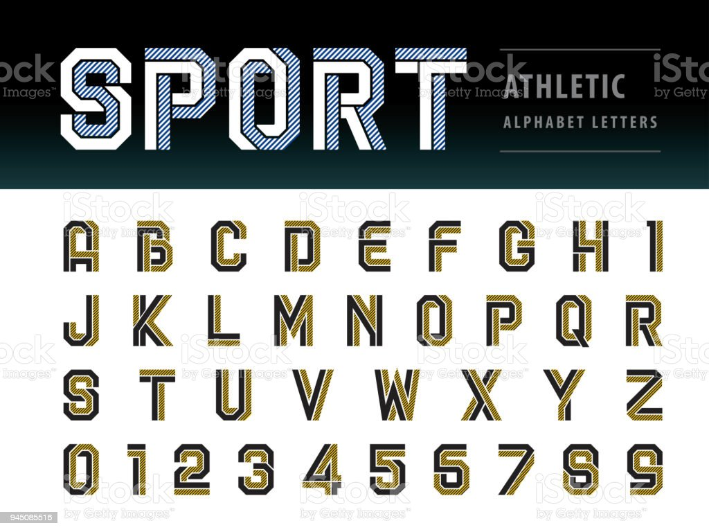 Vector Of Athletic Alphabet Letters And Numbers Geometric