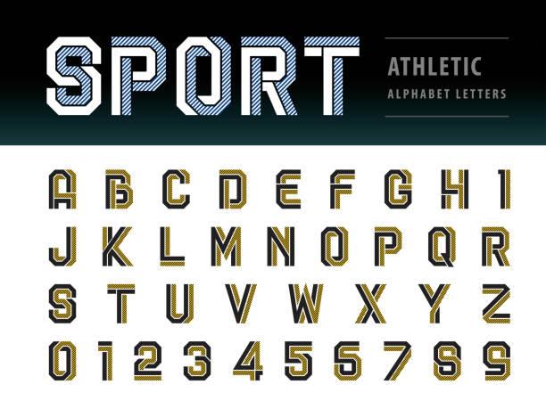 ilustrações, clipart, desenhos animados e ícones de vetor de atlético letras do alfabeto e números, geométrico fonte de tecnologia, esporte, futuro futurista - equipe esportiva