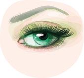 Vector of beautiful green woman's eye.