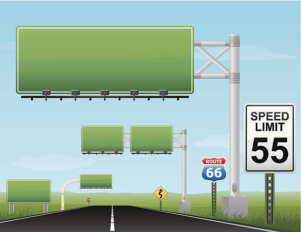 Vector of blank green highway signs with speed limit of 55 vector art illustration