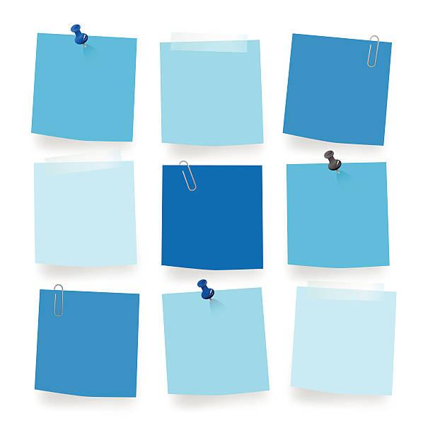 вектор синий пустой примечания - post it notes stock illustrations
