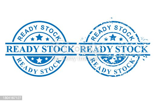 istock Vector of Blue Circle Grunge Rubber Stamp, Ready Stock, Isolated on White 1304167127