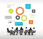 Vector of boardroom meeting and infographics