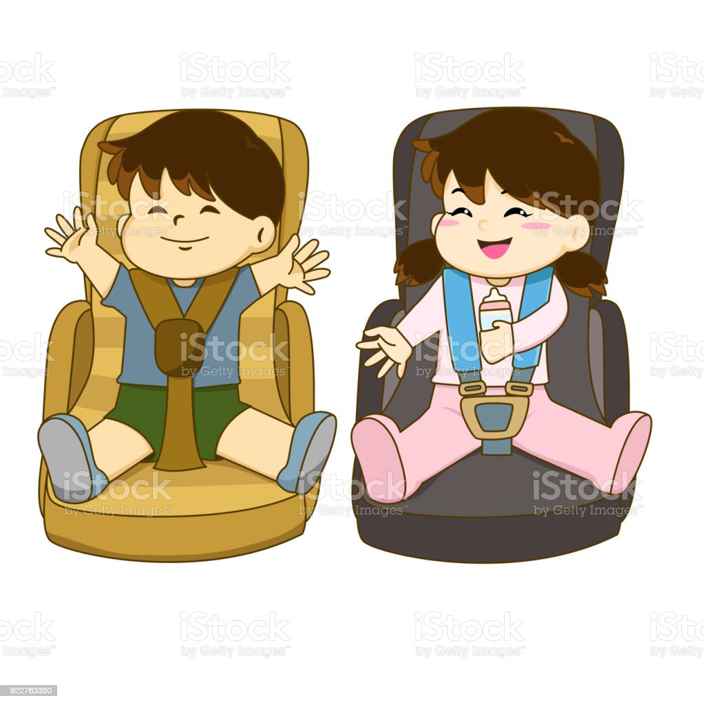 Vector of boy and girl sitting on car seat wearing seat belt vector art illustration