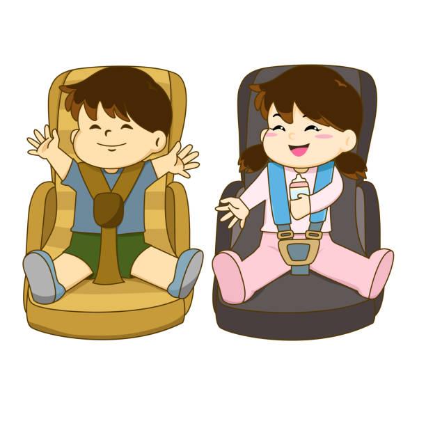 Vector Of Boy And Girl Sitting On Car Seat Wearing Belt Art Illustration