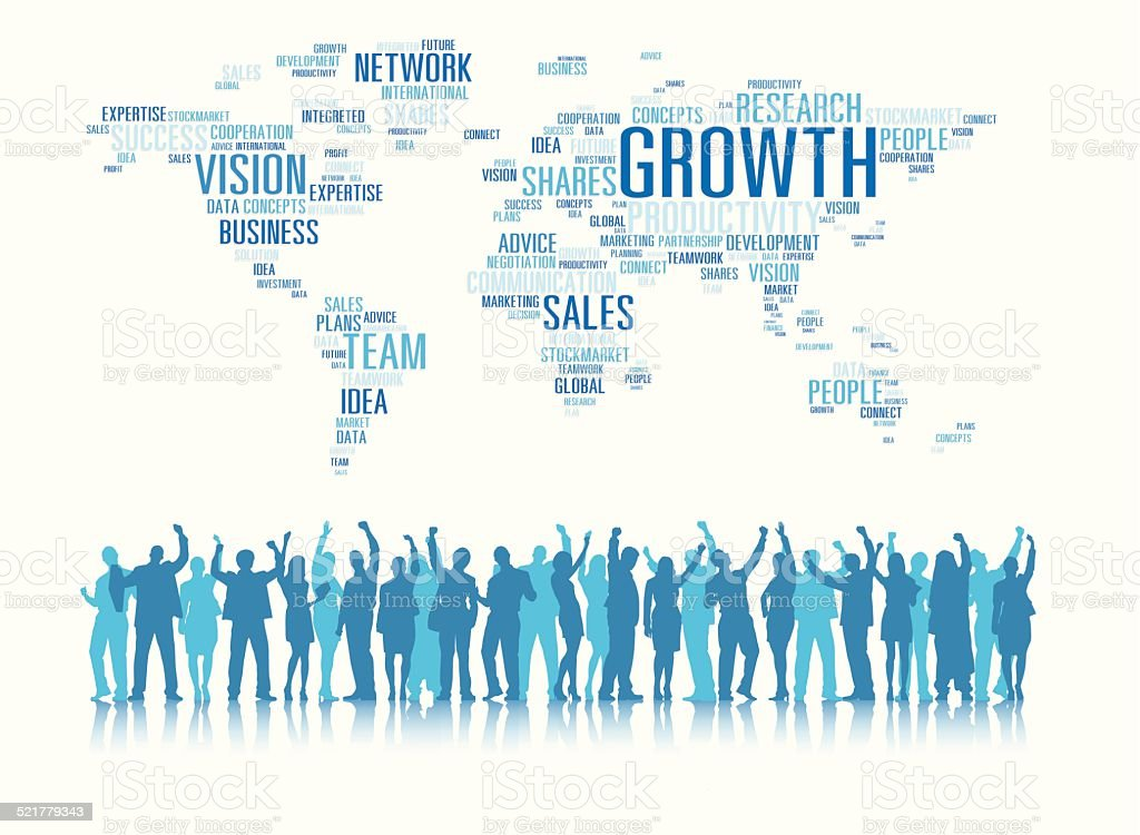 Vector of Business People and Global Business Concept vector art illustration