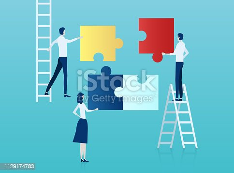 Teamwork concept. Vector of business people assembling a puzzle.