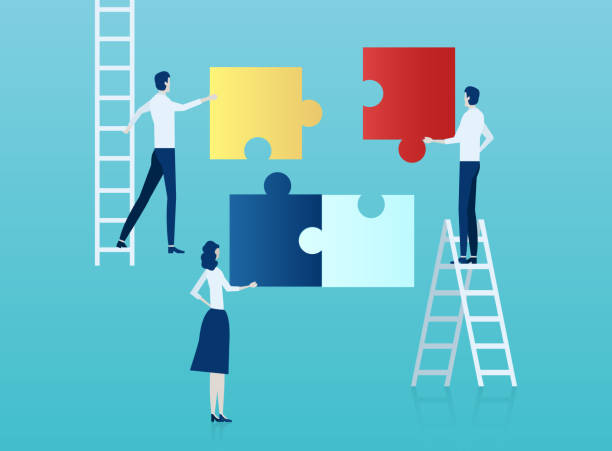 vector of business people assembling a puzzle. - koordynacja stock illustrations