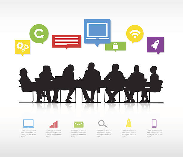 Vector of Business People Having a Meeting vector art illustration
