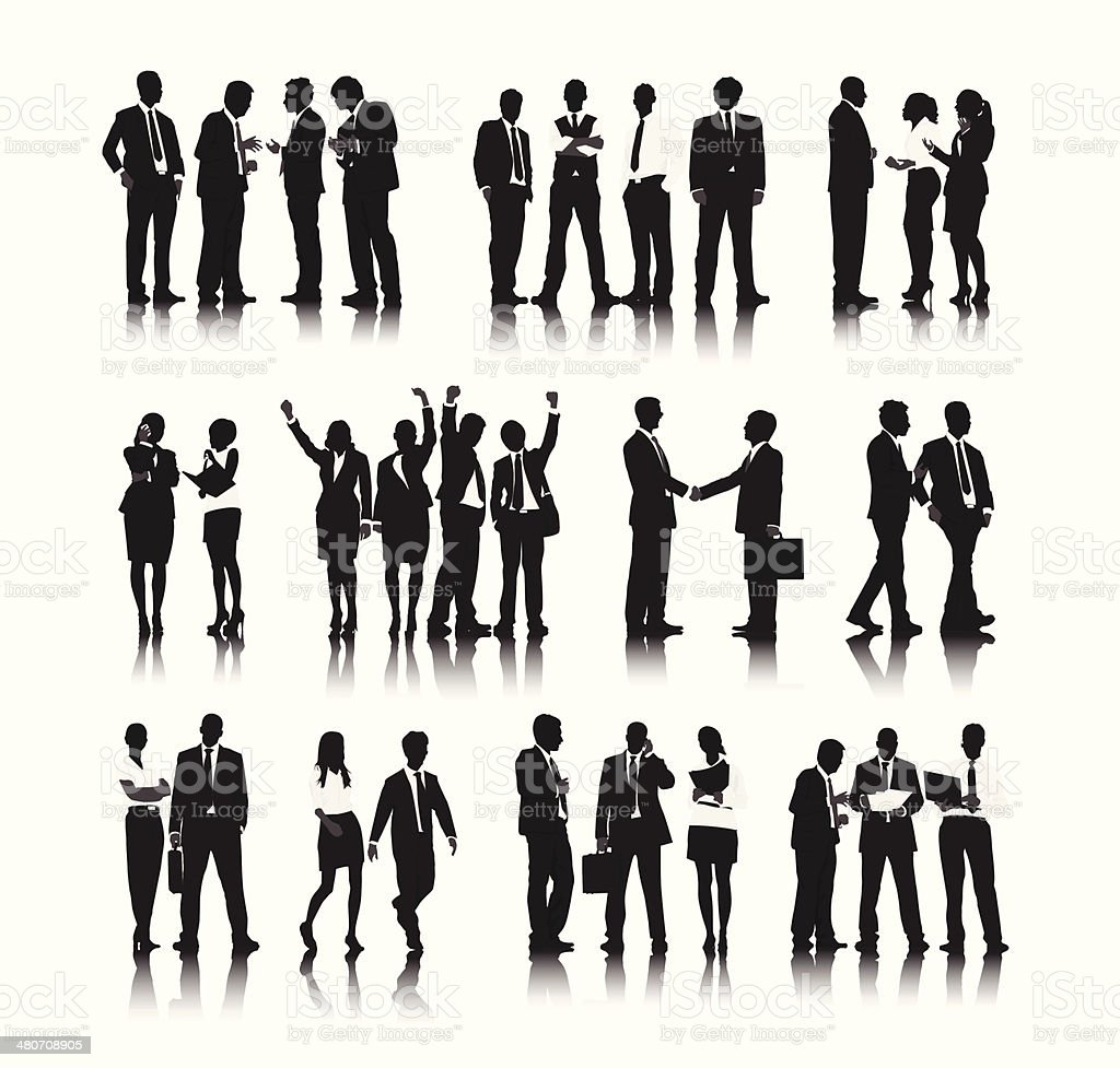 Vector of  Business People in Different Situations vector art illustration