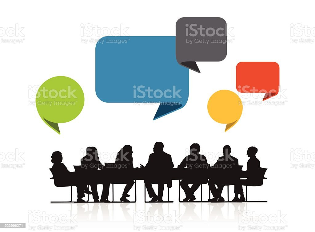 Vector of Business People Meeting and Speech Bubble vector art illustration