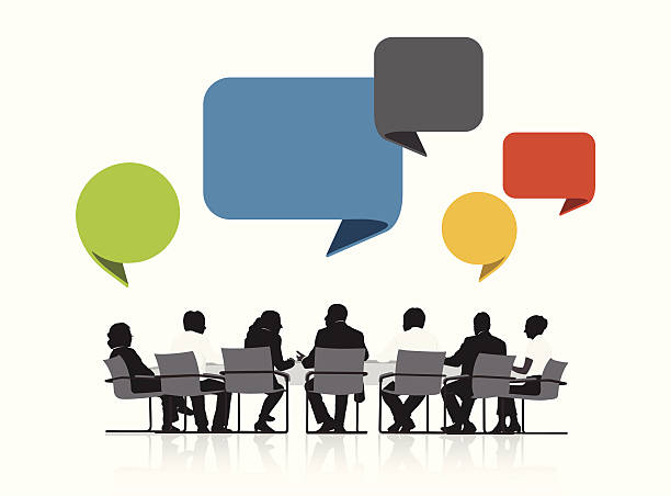 Vector of Business People Meeting with Speech Bubble vector art illustration