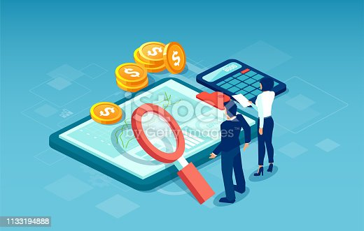 Web banner for financial data analysis and statistics concept. Vector of business people researching for new profitable investment opportunities.