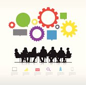 Vector of Business People with Infographic Elements.