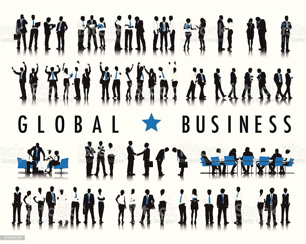 Vector of Business People with Word Global Business vector art illustration