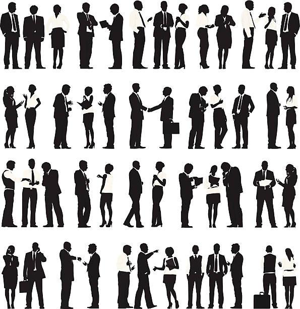 ベクトルのビジネス人々の作業の列 - ビジネスマン点のイラスト素材/クリップアート素材/マンガ素材/アイコン素材