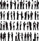 Vector of Business People Working in a Row