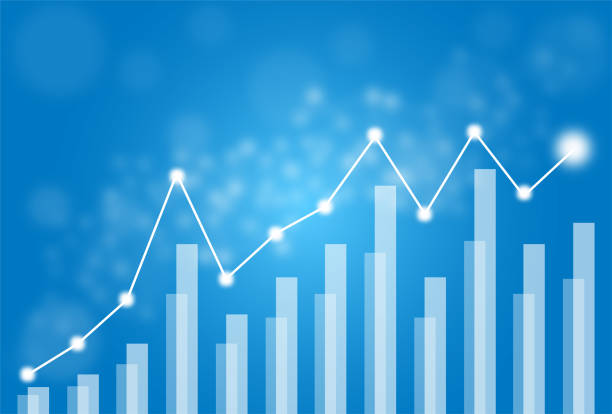 Vector of business stock graph market growing abstract background in blue tone. Vector of business stock graph market growing abstract background in blue tone. bar graph stock illustrations
