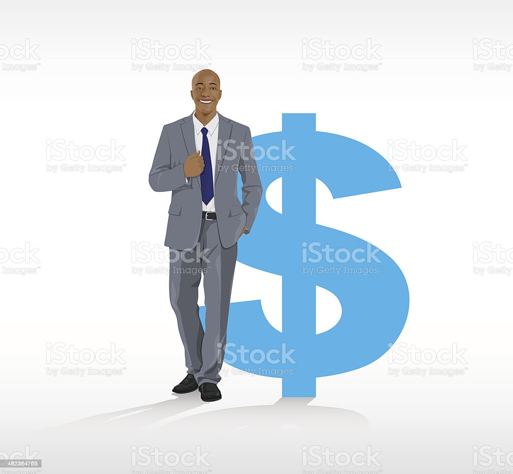 Vector of Businessman with a Dollar Symbol royalty-free vector of businessman with a dollar symbol stock vector art & more images of adult