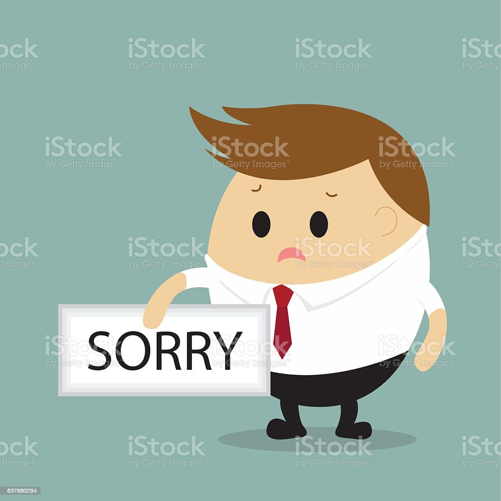 Vector of Businessman with sorry sign. vector art illustration