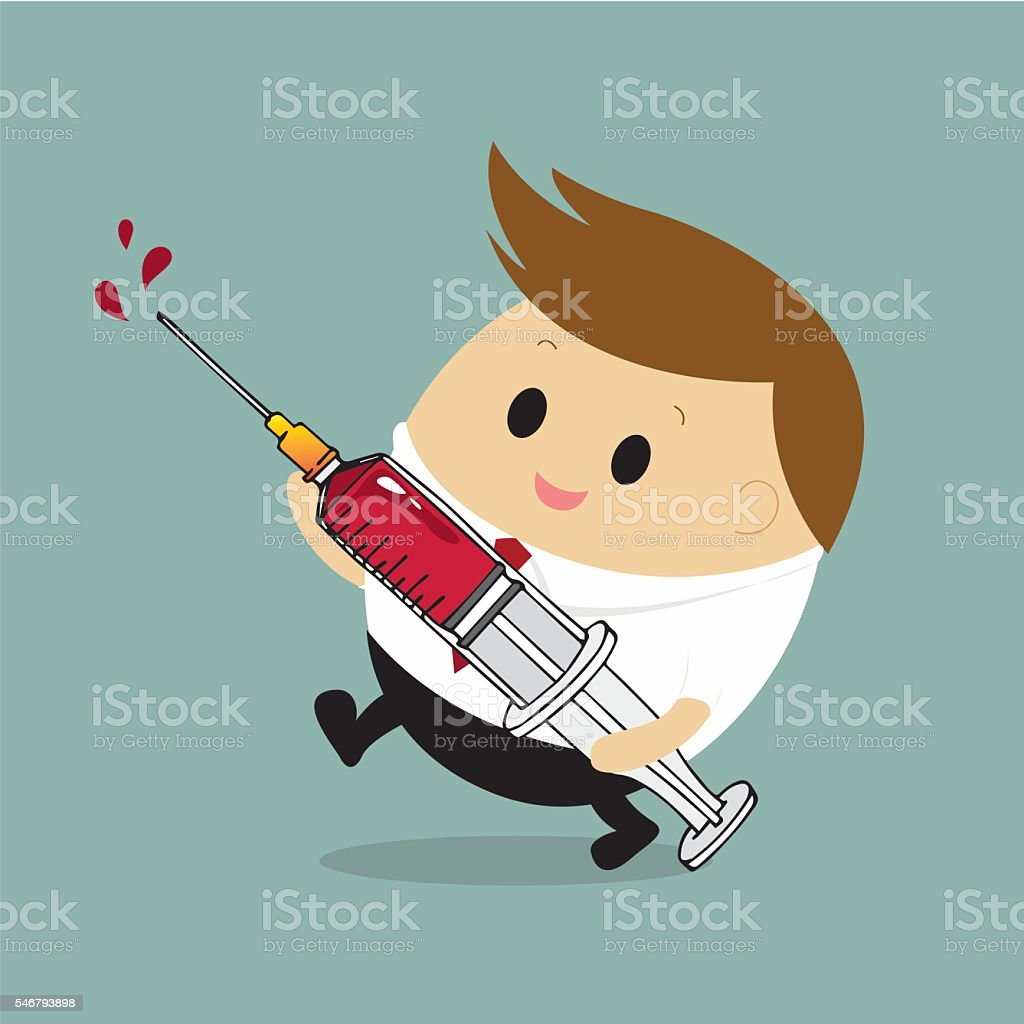 Vector of businessman with syringe and red liquid for Healthcare vector art illustration
