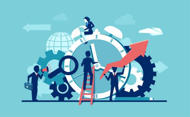 illustrazioni stock, clip art, cartoni animati e icone di tendenza di vector of businesspeople company team working around alarm clock rings on blue background. - efficacia