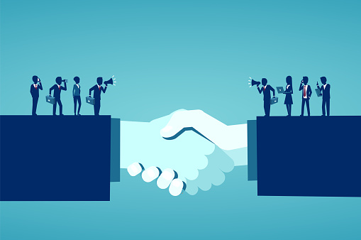 Vector of businesspeople reaching an agreement after successful negotiations