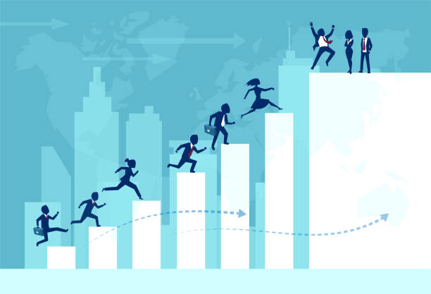 Vector of businesspeople teamwork working together climbing ladder of success Vector of businesspeople teamwork working together climbing ladder of success building an international business. sales occupation stock illustrations