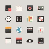 Vector of business-themed icons in color