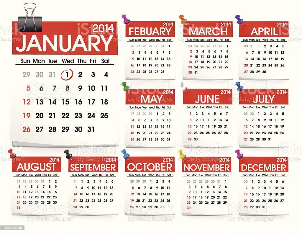 Vector of Calendar 2014 royalty-free stock vector art