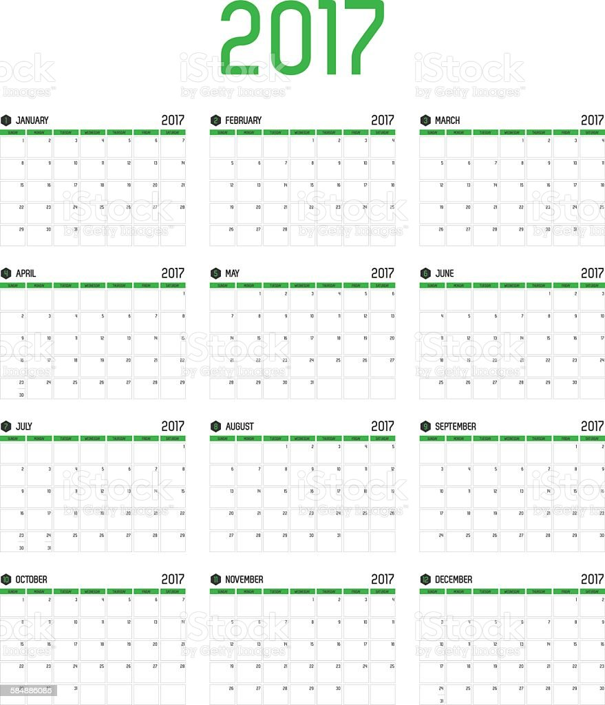Monthly Calendar Year : Vector of calendar new year month set