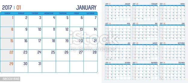 vector of calendar 2017 year 12 month calendar with simple 2017年