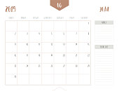 Vector of calendar 2019 ( June ) in simple clean table style with goals and to do list box; full size 21 x 16 cm; Week start on Sunday