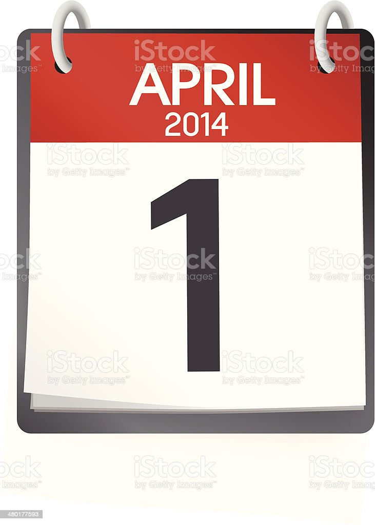 Vector Of Calendar April 1st 2014 royalty-free stock vector art