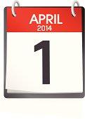 Vector Of Calendar April 1st 2014