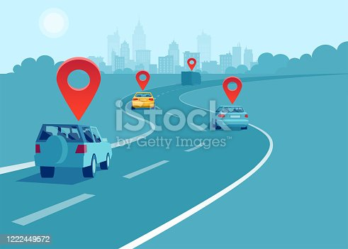 istock Vector of cars and trucks driving on a highway with geo location signs. Concept of navigation and direction. 1222449572
