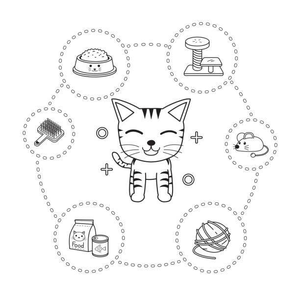ilustrações de stock, clip art, desenhos animados e ícones de vector of character cat and accessories cartoon style - lata comida gato