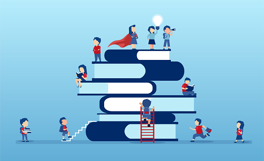 Vector of children climbing up on a top of a stack of books eager to learn