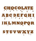Vector of Chocolate font made of chocolate