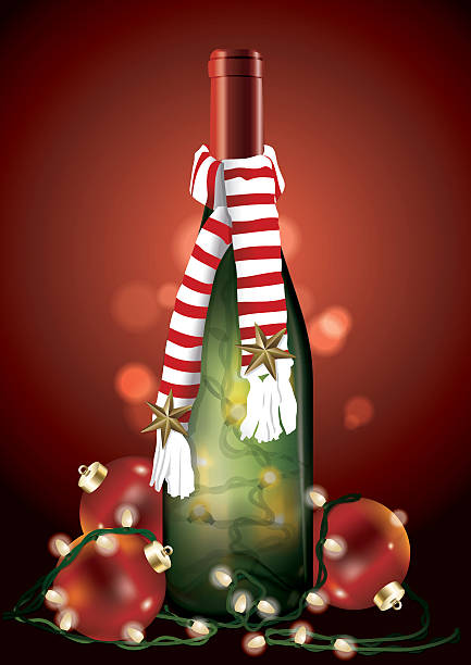 wine bottle christmas lights clip art vector images illustrations