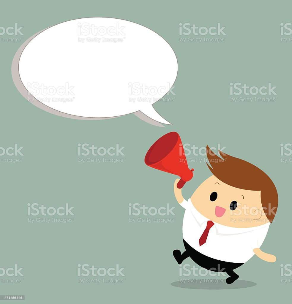 Vector of chubby businessman with megaphone vector art illustration