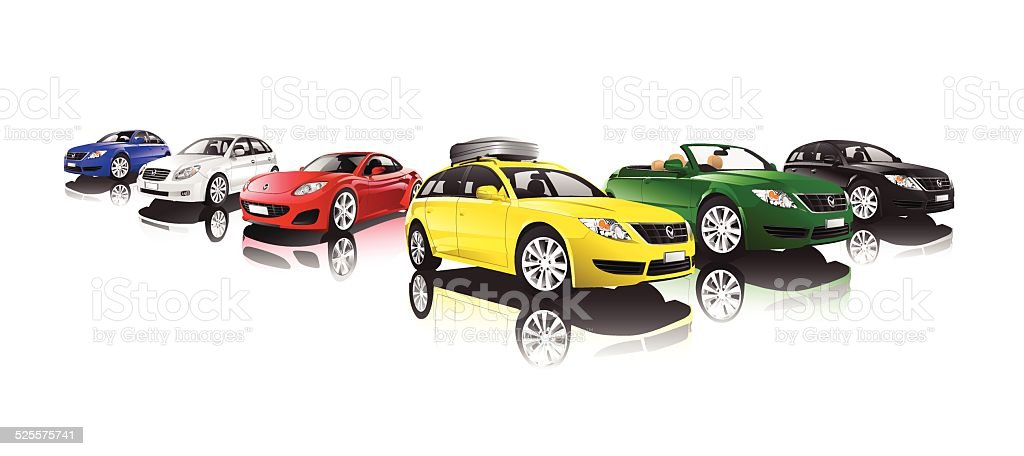 Vector of Collection of Cars vector art illustration