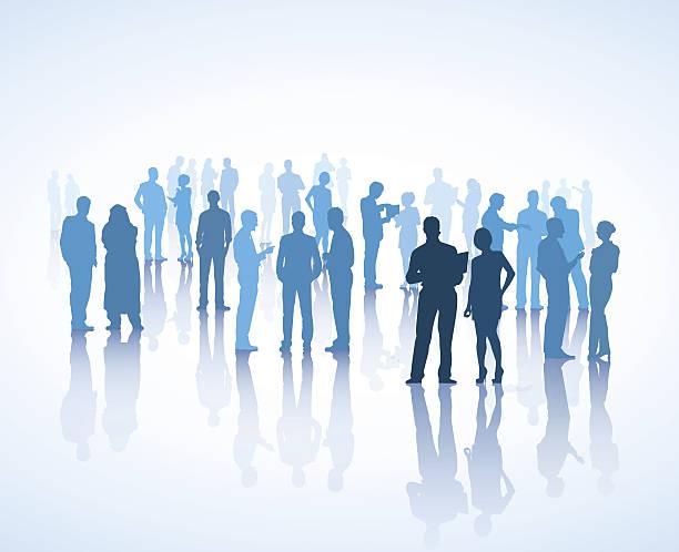 ilustraciones, imágenes clip art, dibujos animados e iconos de stock de vector de comunicar líder - reunión evento social