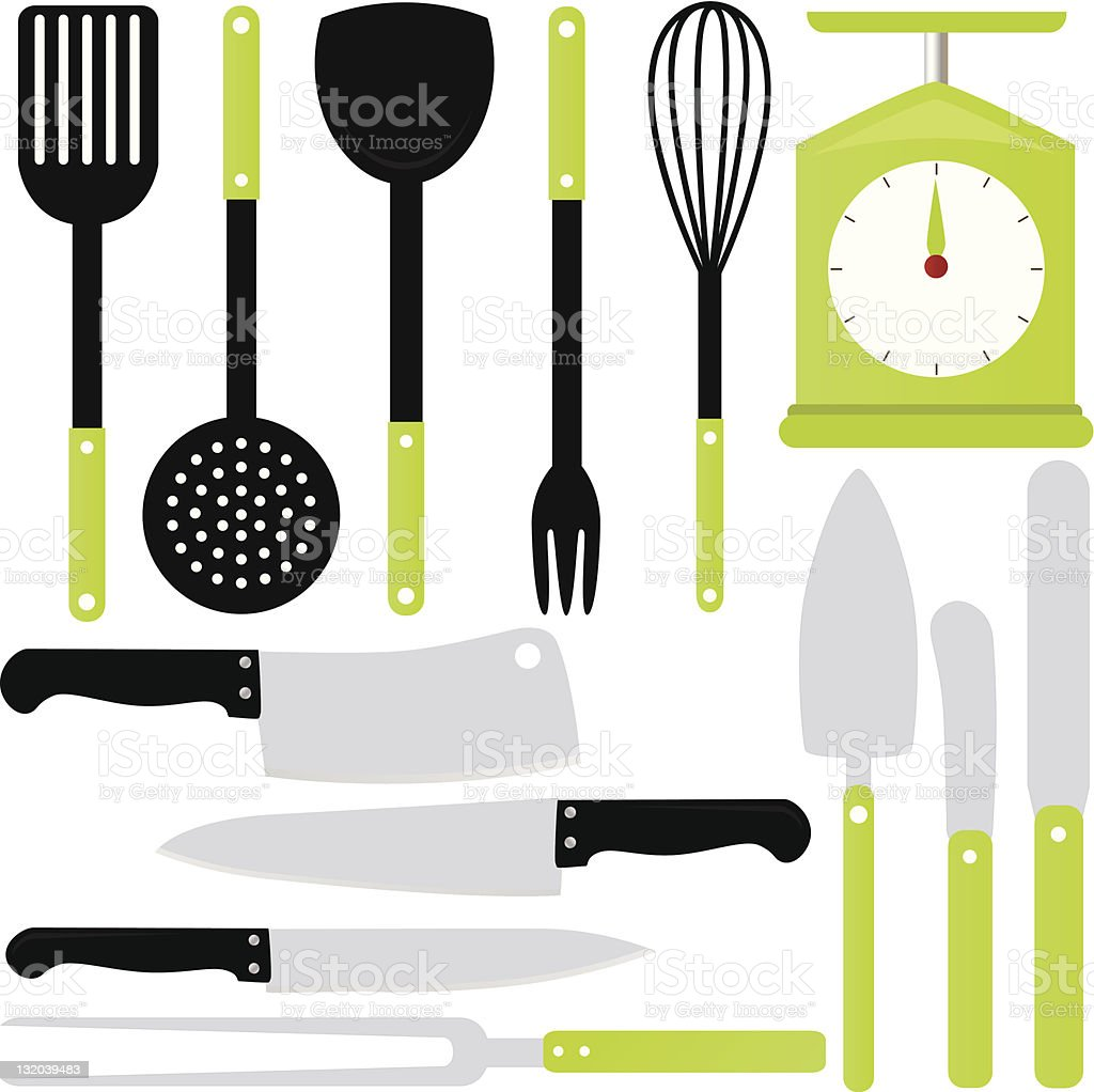 vector of cooking utensils knives baking equipments stock