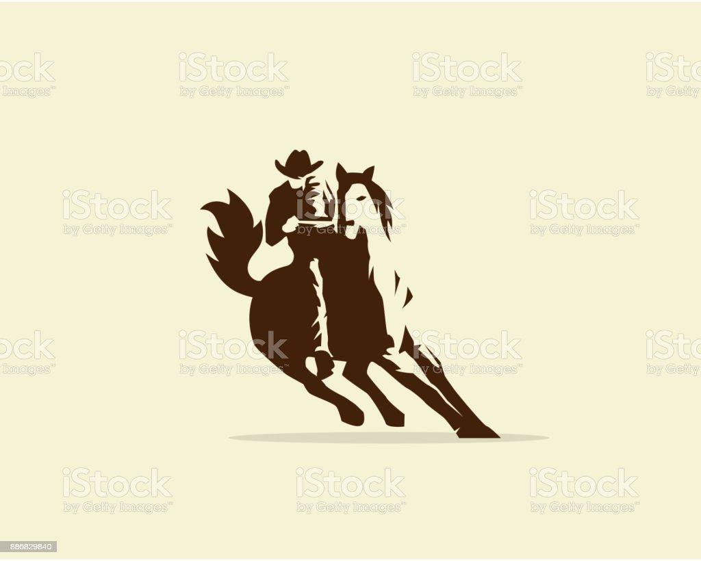 Vector of Cowboy riding wild horse vector art illustration