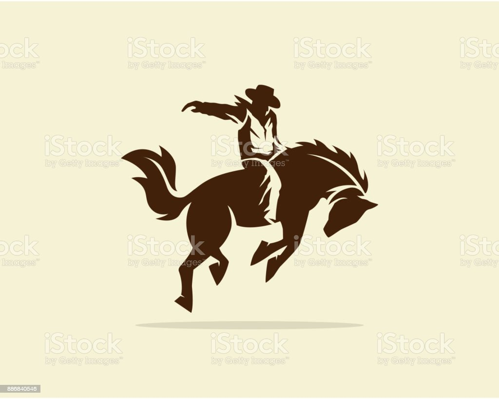 Vector of Cowboy riding wild horse