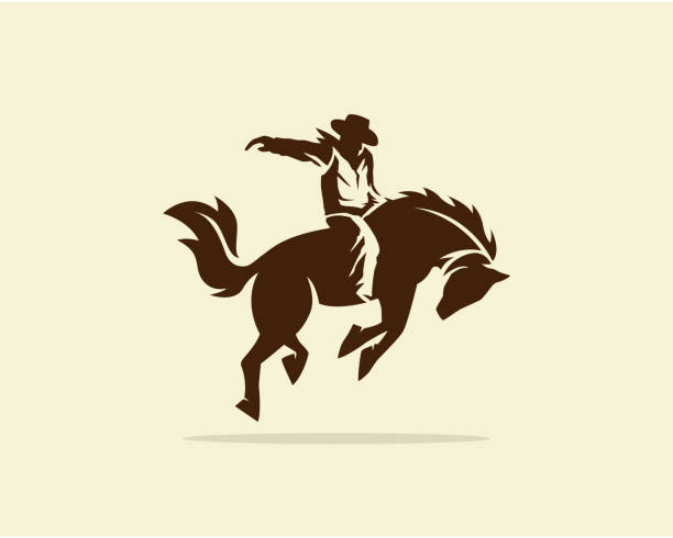 vector of cowboy riding wild horse - rodeo stock illustrations, clip art, cartoons, & icons